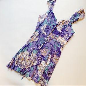 👰🏻 VESTIQUE Purple Floral Ruffle Strap Dress S